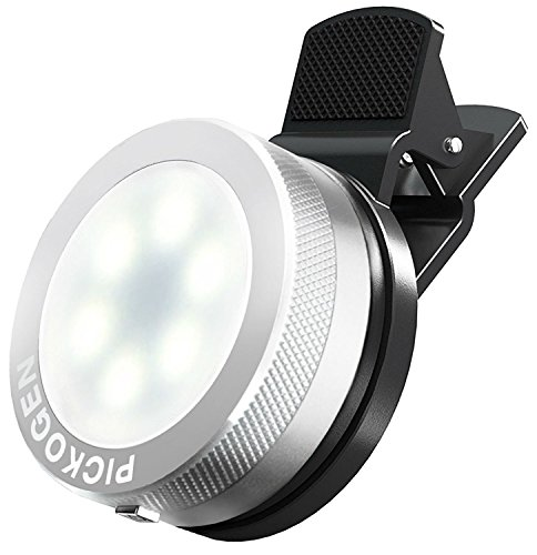 Universal Clip-On Mini LED Light Portable Pocket Spotlight for iPhone, iPad, iPod, Samsung, LG, Motorola, HTC, Nokia, Cell Phones and Tablets Camera Video Light (Chrome)