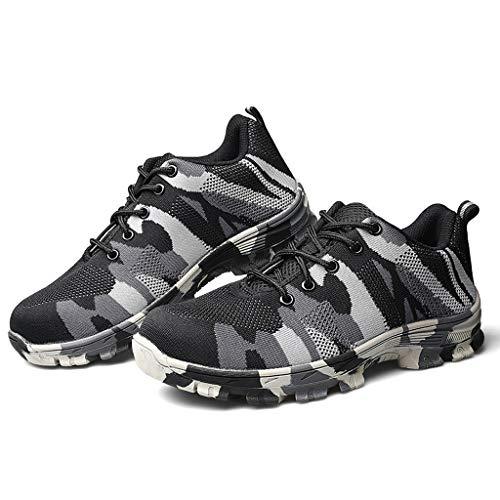 WggWy Zapatos De Trabajo Resistentes Al Desgaste No Deslizante De Los Hombres, Zapatos De Camuflaje Livianos Transpirables Cómodos Duraderos No Deslizables Zapatos De Seguridad Camuflaje,Gris,42