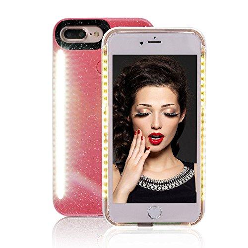 LNtech Selfie LED Phone Case, Selfie LED Light Case für iPhone – für Handy mit Vorder- und Rückseite, Wiederaufladbare LED, iPhone 6/6s/7/8, Rose