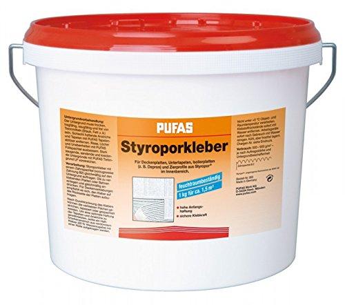 Pufas Styroporkleber und Renoviervlies Kleber 14kg - Hartschaumkleber Deckenplatten Untertapeten Isolierplatten kleben
