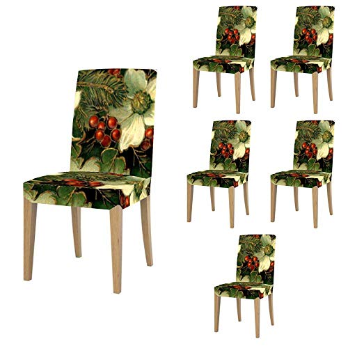 Super Fit Stretch Jacquard Removable Washable Short Dining Chair Covers Seat Slipcover for Christmas,Dining Room,Ceremony,Banquet Wedding Party 467.White Poinsettia Vintage...