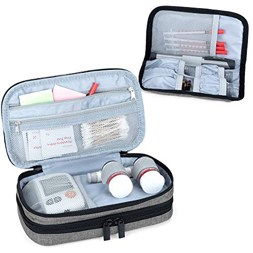 Luxja Insulin Diabetiker Tasche, Doppelschicht Insulin Tasche für Blutzuckermessgeräte und Diabetiker Zubehör (Nur Tasche), Grau