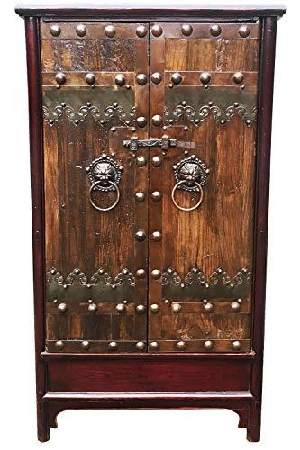 Chinesischer Hochzeitsschrank Schrank Kleiderschrank Liang Braun 180cm hoch | China Vintage kleiner Dielenschrank schmal | Asia Schränke aus Holz massiv für den Flur Schlafzimmer Wohnzimmer oder Bad