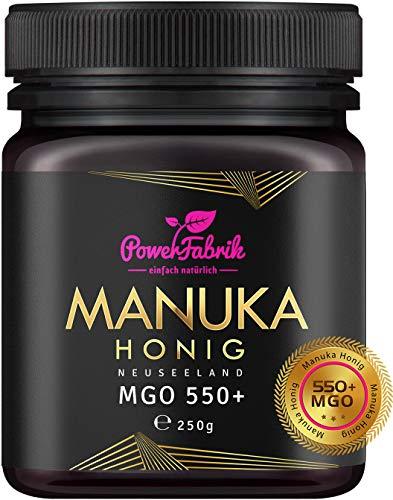 Manuka Honig | MGO 550+ (UMF 15+) | 250g | Das ORIGINAL aus NEUSEELAND | HOCHAKTIV, PUR, ROH & ZERTIFIZIERT | Premium Qualität 100% natürlich | INKL. GRATIS HONIGLÖFFEL aus Holz | PowerFabrik