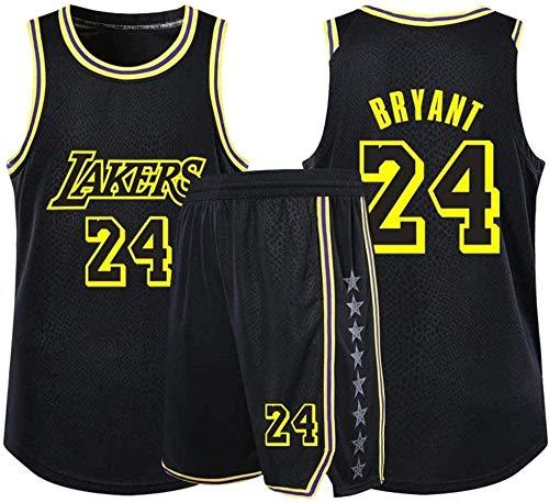 MMW Camiseta De Baloncesto para Hombres Camiseta De Baloncesto Incluyendo Pantalones Cortos - Lakers No. 24 Kobe Bryant Camiseta De Baloncesto para Adultos Y Niños,Black,Medium