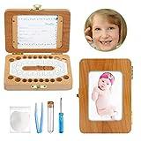 Ballery Caja de dientes bebés, Caja para Guardar Dientes de Bebé para Niño y Niña Almacenaje Madera de Souvenir Teeth Box resistente y segura Dientes de Leche de Madera Caja de Recuerdos