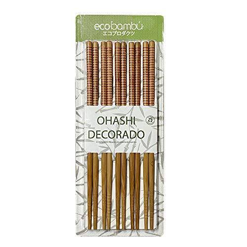 GUVAL ECOBAMBÚ, Paquete de 10 Pares de Ohashi de Bambú Decorado Reutilizable, 10 Piezas