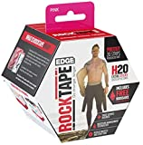 RockTape H2O Edge Highly Water-Resistant Kinesiology Tape with Travel Case, 20 Pre-Cut Strips, Pink