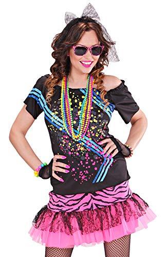 80er Jahre Disco Girl Kostüm für Damen - Schwarz Pink Gr. S