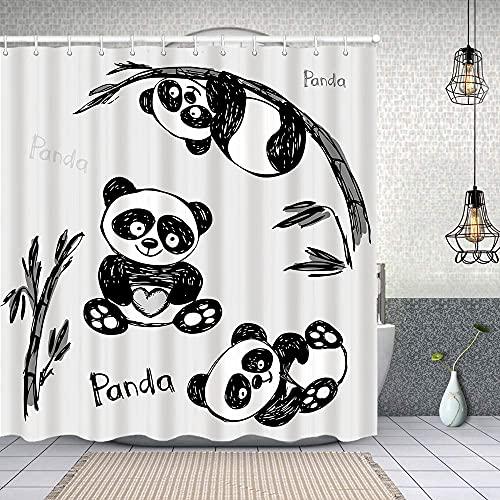 Cortina de Baño con 12 Ganchos,Panda Lindo en Diferentes Poses Dibujo a Mano,Cortina Ducha Tela Resistente al Agua para baño,bañera 180X180cm