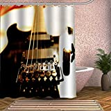 YEDL E-Gitarre Duschvorhang 01 Kreatives Design 3D Wasserdichter Badvorhang aus Polyestergewebe 12 Haken 180X180Cm