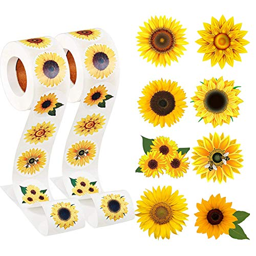 Lcoor 1 rollo de pegatinas de girasol con 8 patrones para decoración de fiestas (1000 piezas) 1.5 pulgadas