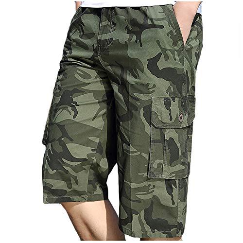 Dainzuy-Hat Herren Shorts Neu Herren-Reißverschluss-Knopf-Tasche Bedruckte Arbeitskleidung Sport Freizeithosen Hipster Casual Komfort mit Reißverschluss Taschen