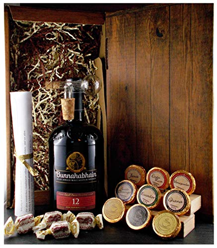 Geschenk Bunnahabhain 12 Jahre Single Malt Whisky + Glaskugelportionierer + Edelschokolade + Whiskey Fudge