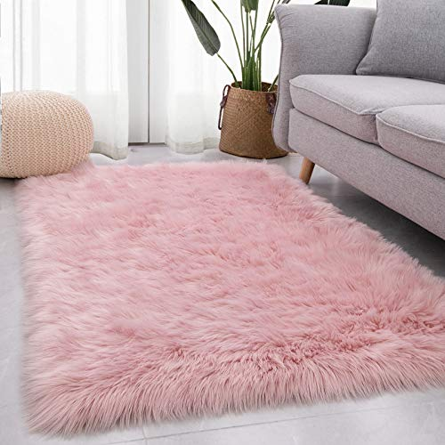Luxurious Shag Faux Fur Rug Super Soft Fluffy Sheepskin Area Rugs Non-Shedding Washable Fuzzy Carpat for Bedroom Bedside Living Room Fireplace Sofa Decor, Pink 3x5 Feet
