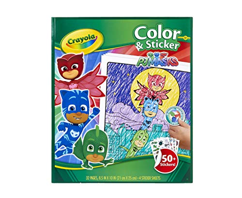 Crayola PJ Masks Coloring Pages and Stickers, 32 Pages, Gift for Kids, Ages 3, 4, 5, 6