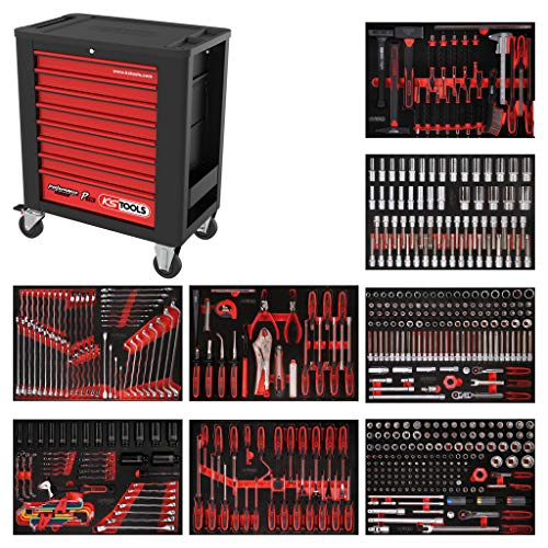 KS Tools 815.8536 PERFORMANCEplus Werkstattwagen P15, bestückt mit 536 Werkzeugen in 8 Einlagen für 8 Schubladen