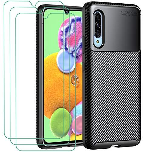 ivoler Hülle für Samsung Galaxy A90 5G, Handyhülle mit 3 Panzerglas Schutzfolie, Schwarz Stylisch Karbon Design Anti-Kratzer Stoßfest Schutzhülle Cover Weiche TPU Silikon Hülle