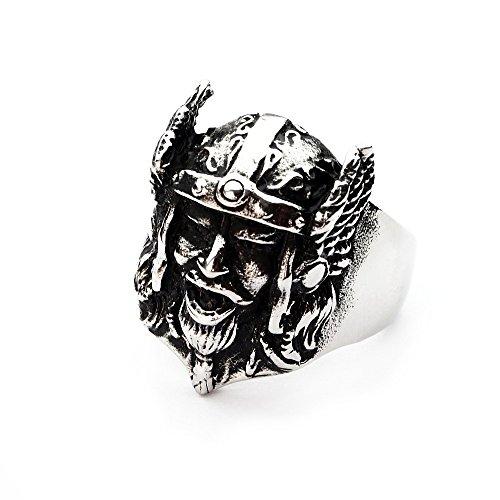 Miss–E–Jewels Silber Edelstahl Viking warrior Ring für Herren Gothic Biker Punk Goth Nordic Größe: U, 10, 23, 63