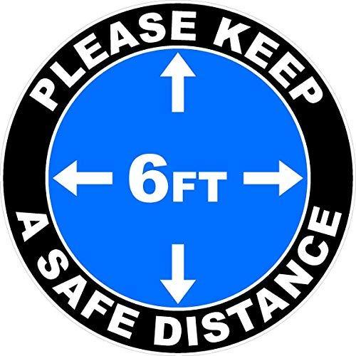 Please Keep Safe 6 Foot Distance Social Distancing Indoor Floor Decal. 12' x 12'. 5 Pack (5-Decals) BLUE Color Version. Industrial UV Grade Anti-Slip 3M Overlamninate
