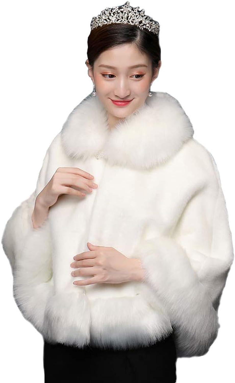 Faux Fur Wrap Shawl Women's Shrug Bridal Stole Winter Wedding Party Free Brooch (4 colors) (color   1)