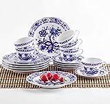 KAHLA 170290M72067U Zwiebelmuster Kaffeeservice für 6 Personen Tee Geschirr Porzellan 18-teilig weiß blau Kuchenteller Tasse Untertasse Komplettset...