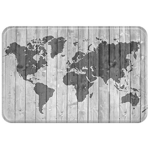 violetpos Paillasson paillasson Home Intérieur & Extérieur Tapis Anti-Poussière Mat Simple Gris Bois Carte du monde, Polyester, Gris, 50 x 80 cm