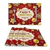 Set di 4 tovagliette natalizie con stelle e fiocchi di neve, lavabili e resistenti all'usura, ideali per feste, cucina, sala da pranzo