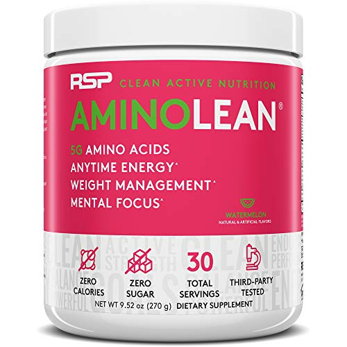 RSP AminoLean - All-in-One Pre Workout, Amino Energy, Weight Management Supplement with Amino Acids, Complete Preworkout Energy for Men & Women, Watermelon