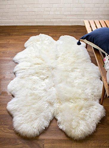 Super Area Rugs Genuine Thick Sheepskin Rug Four Pelt 4ft x 5.5ft Natural Fur, Quarto (Sheepskin-Quarto)