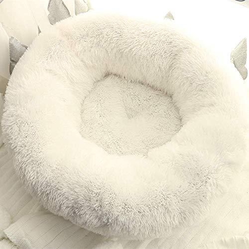 KongEU Donut Cama para perro Shaggy Snug Pet Sofá, cama redonda cueva de anidación cálida de felpa, lavable a máquina, colchón para perro, suave y cómodo, cama para cachorros, color blanco, 80 cm