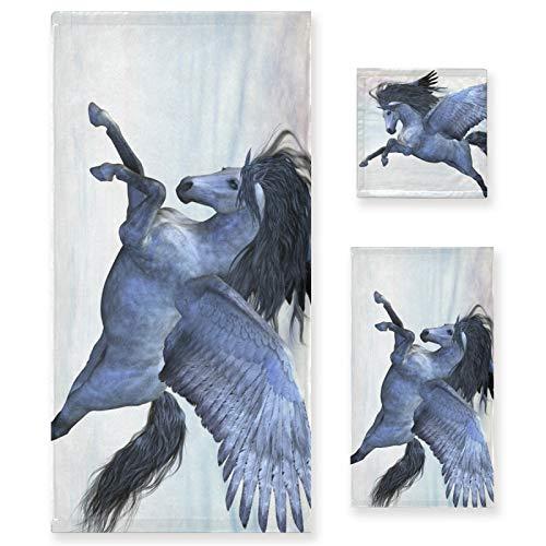 LUPINZ Juego de tres piezas de toalla de mano de unicornio Pegasus de plata