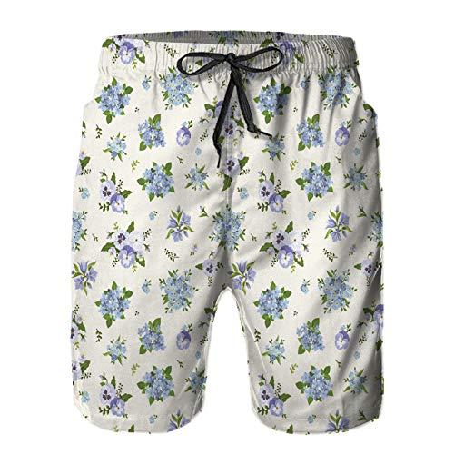 Aerokarbon Hombres Playa Bañador Shorts,Pensamientos Azules campanillas Plumbago y no me Olvides Flores,Traje de baño con Forro de Malla de Secado rápido XL