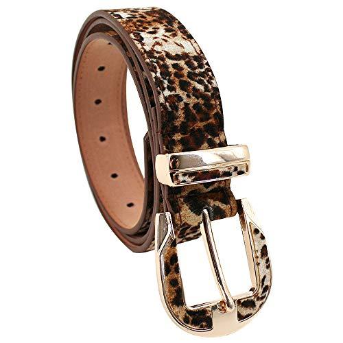 LA HAUTE Cinturón de piel de ante con estampado de leopardo ajustable para pantalones vaqueros y vestidos 4027 Leopardo Talla única