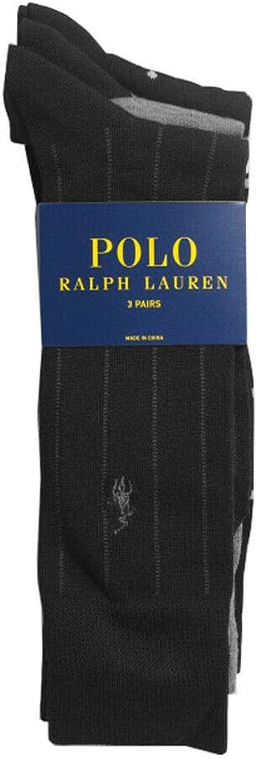 Polo Ralph Lauren Men's Assorted 3 Pairs Casual Dress Socks(10-13) Shoe Size 6-12.5, Black/Grey (10-13)