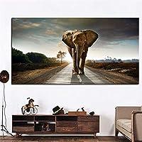 キャンバスウォールアート象動物風景画キャンバスポップアートポスターとプリント抽象アートウォール写真リビングルームの装飾-60x120cmフレームなし