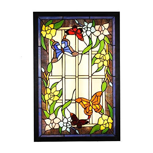 YWX Tiffany Stil Wandleuchte Deckenleuchte Schmetterling Muster Buntglas Handgemacht,36W LED Lampe 3000K 3500LM Wandleuchte Innen für Flur Wohnzimmer Schlafzimmer