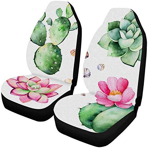 Bernice Winifred Autositzbezüge kompletter Satz Sukkulenten Pflanzen,Kieselsteine,Cactus 2 Packs Autositzbezugschutz Kissen-Autositzschutz-2 PCS