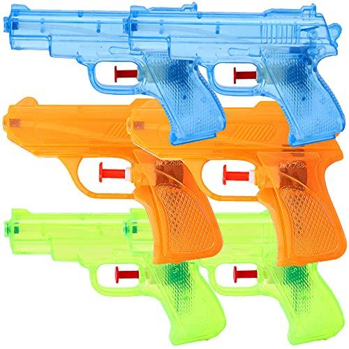 TE-Trend 6 Stück Wasserpistole Kinder Spritzpistole Wasser Set 12 cm Mitgebsel Kindergeburtstag Party Mitbringsel Mehrfarbig