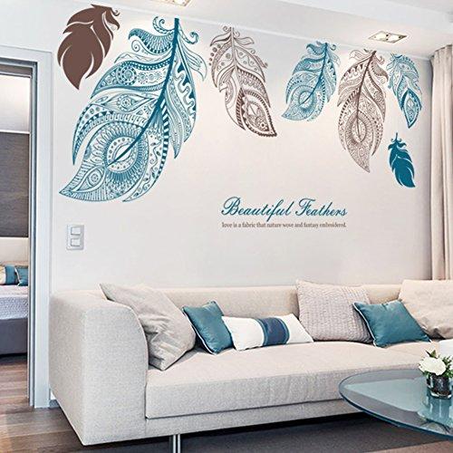 ZYCLSSRV Große Feder kreative wandsticker,Wandtattoo Wohnzimmer tv Hintergrund Kreative Kunst-schlafzimmerdekorationen-A 73 * 33inch