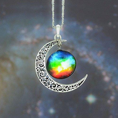 5starwarehouse® Halskette mit Anhänger in Galaxie-Optik, bunt, Glas, hohl, Halbmond, Weltraum – mit Tuch von 5 Sternen (3)