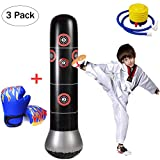 CRRD Inflatable Boxing Punch Bag Freestanding Punching Bag Inflatable Punching Bags Punching Heavy Bags with Kids Punching Gloves Blue Air Inflator Pump