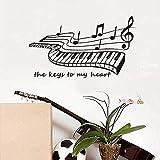 Calcomanías de pared desmontables PVC art pegatinas de pared Key To My Heart piano sala de estar pop art music wallpaper 59 * 43 cm
