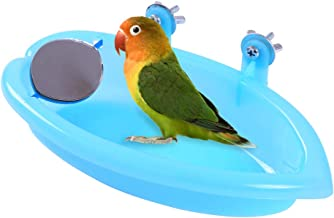QBLEEV Bird Baths Tub with MirrorFor Cage, Parrot Birdbath Shower Accessories, Bird Cage Hanging Bath Bathing Box for Small Birds Parrots