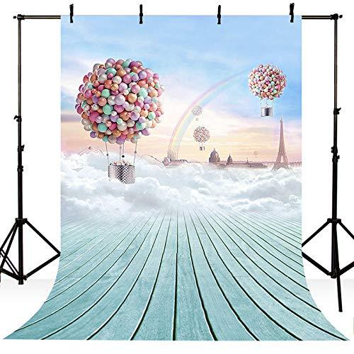 AleXanDer Photo achtergrond, Vinyl Fotografie Achtergrond Cartoon Blauwe Hemel Ballonnen Regenboog Dreamland Kinderen Backdrops Voor Photo Studio