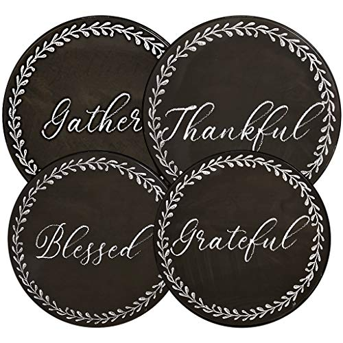 Gratitudes Chalkboard Style Burner Covers Farmhouse Rustic, Set of 4 - Thankful, Grateful, Blessed, Gather