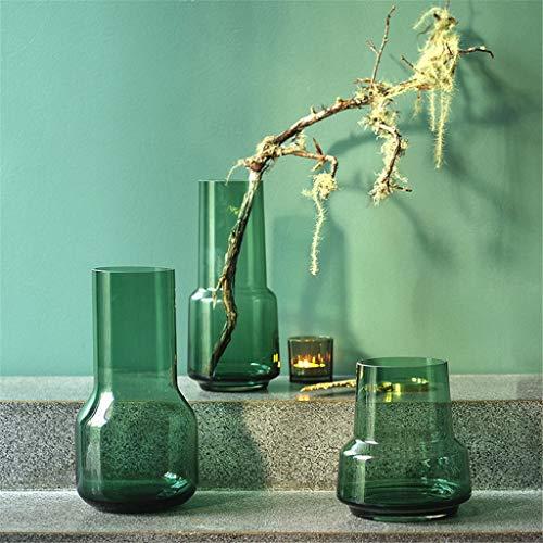 Conjunto de 3 Cristal Jarrones de flores en verde claro decorativo botella alta soportes de flores decorativos rústicos jarrones de flores for la decoración del hogar Centros de mesa Eventos del brote