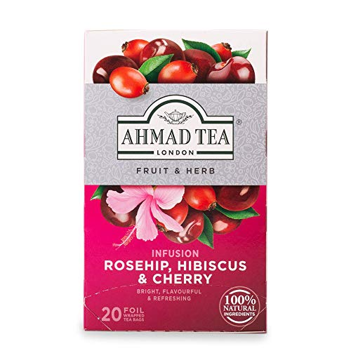 Ahmad Tea Rosehip Hibiscus and Cherry Aromatisierter Früchtetee, Hibiskus, 2g (20 Teebeutel)