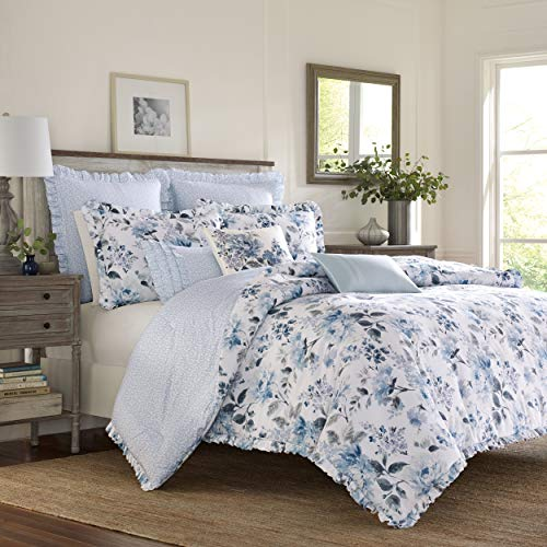 Laura Ashley Home Chloe Collection Luxury Premium Ultra Soft Duvet Set, Lightweight & Comfortable Bedding, Stylish Design for Home Décor, Twin, Cottage Blue