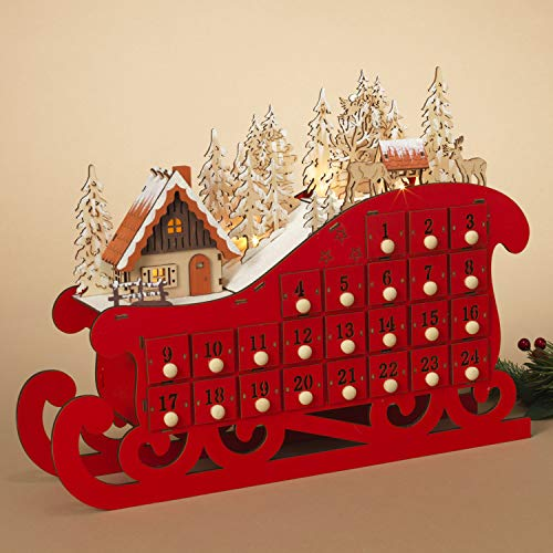 One Holiday Way LED Lighted Red Wooden Sleigh Rustic Reusable Advent Calendar for Kids and Adults - Christmas Countdown Decoration with 24 Storage Drawers